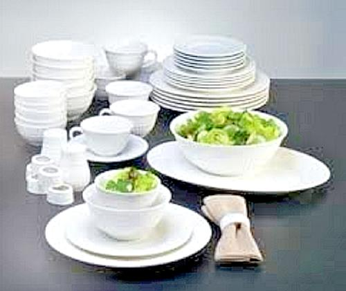 46 White Set Kitchen Dining Plates Saucers Bowls Cups