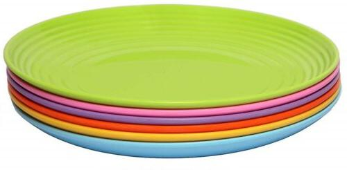 6 piece melamine dinner plate set solids