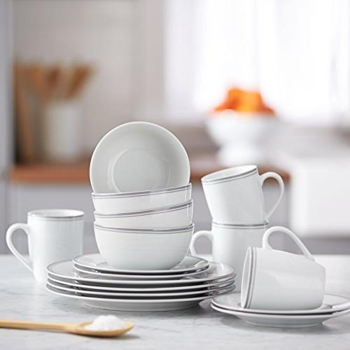 AmazonBasics 16-Piece Cafe Dinnerware Set, Service for 4 -