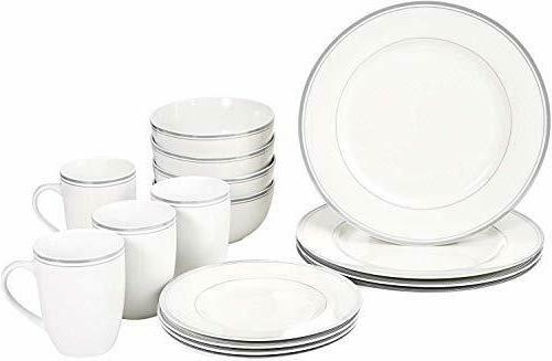 AmazonBasics 16-Piece Cafe Stripe Dinnerware Set, Service fo