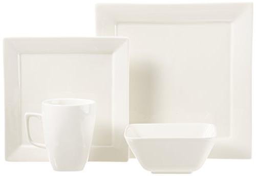 AmazonBasics Dinnerware Set, Square, for 4