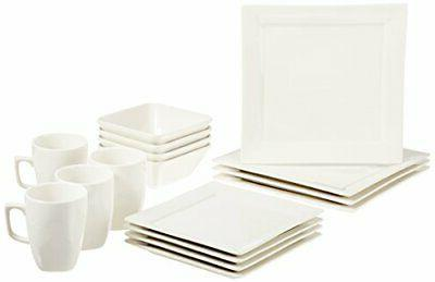 AmazonBasics 16-Piece Classic White Dinnerware Set, Square,