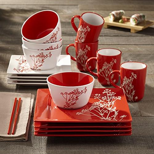 American Atelier Blossom 16-Piece Dinnerware Set, Red