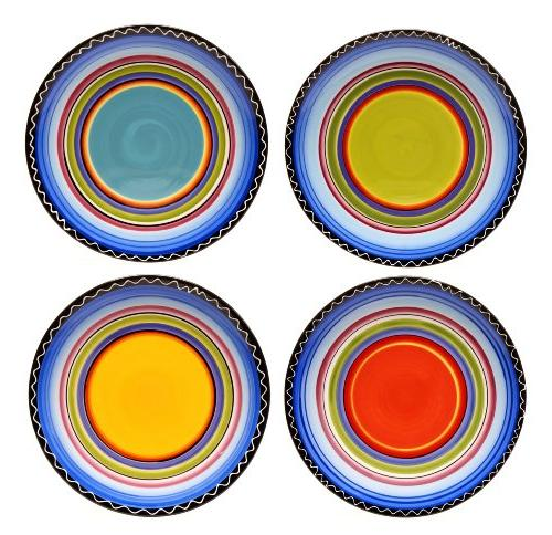 11-Inch Certified International Tequila Sunrise Dinner Plate Assorted Designs Set of 4