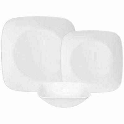 Corelle Square Pure White 18-Piece Dinnerware Set, Service f