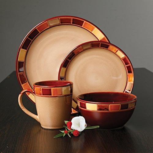 Gibson Estebana Dinnerware Set for 4, Beige and