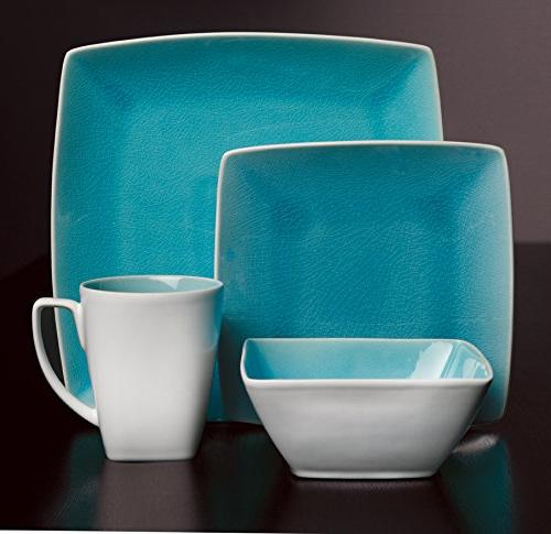 Gibson Urban Luxe 16 Piece Set, Turquoise