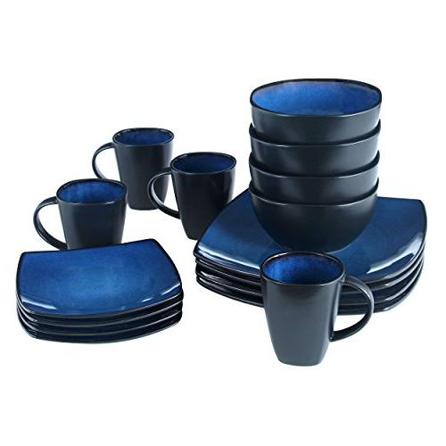 Gibson 61221.16RM Lounge Square 16-Piece Glaze of 4, Blue