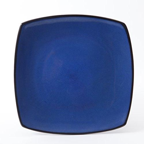 Gibson Lounge Square 16-Piece Glaze Set of 4, Stoneware, Blue
