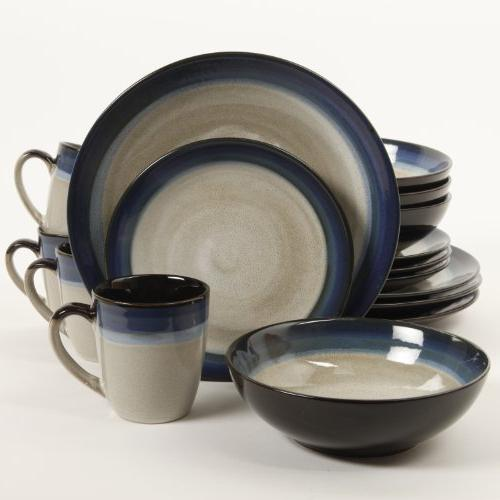 Gibson Elite 91547.16RM Bands 16-Piece Dinnerware Blue and