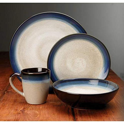 Gibson Elite Bands Dinnerware Set, Blue Cream