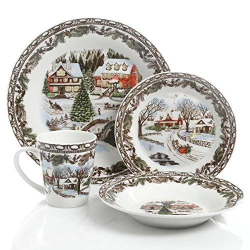 Kitchen & Dining Gibson Home Christmas Toile 16 Piece ...