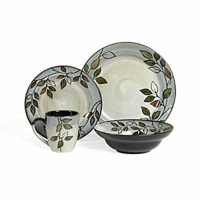 Pfaltzgraff Rustic Leaves 16 Piece Stoneware Dinnerware Set Service For 4