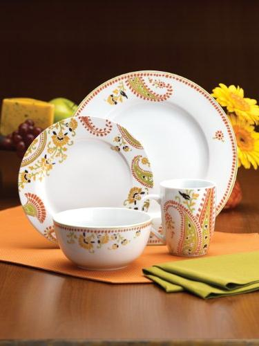 Rachael Dinnerware Paisley 16-Piece Porcelain Dinnerware