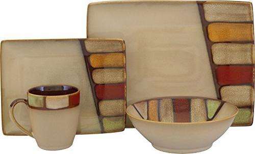 Sango 16 Piece Elements Dinnerware Set, Brown