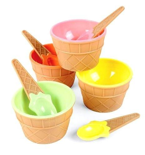 Set of 4 Colorful Ice Cream Cone-Shaped Bowls w/ Matching Sp