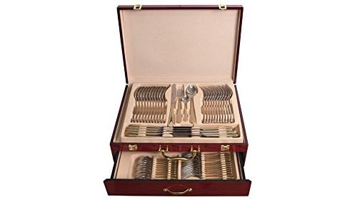 "Venezia ""Seashell"" Fine Silverware Cutlery Dining Service for 12, Premium Surgical Stainless 24K Wooden Storage"