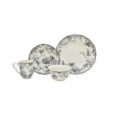 222 Fifth Adelaide Grey 16 Piece Dinnerware Set, Service For