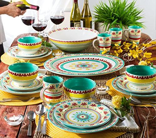 Euro Collection Fall-Inspired Piece Dinnerware Service for 4, Multicolor
