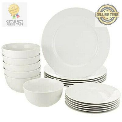 amazonbasics 18 piece white kitchen dinnerware set