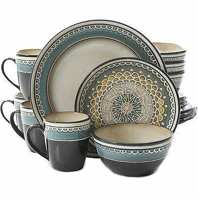 amberdale 16 piece dinnerware set teal