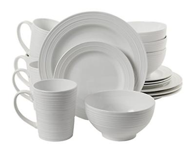 Gibson Home 16 Piece Amelia Court Dinnerware Set, White