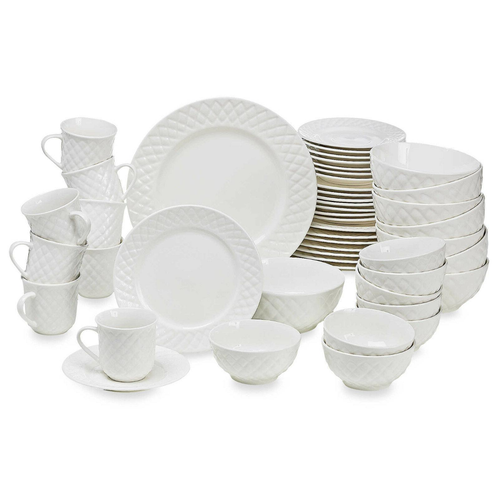 Antique Quilt 48-Piece Dinnerware Set - Porcelain, Served 8,