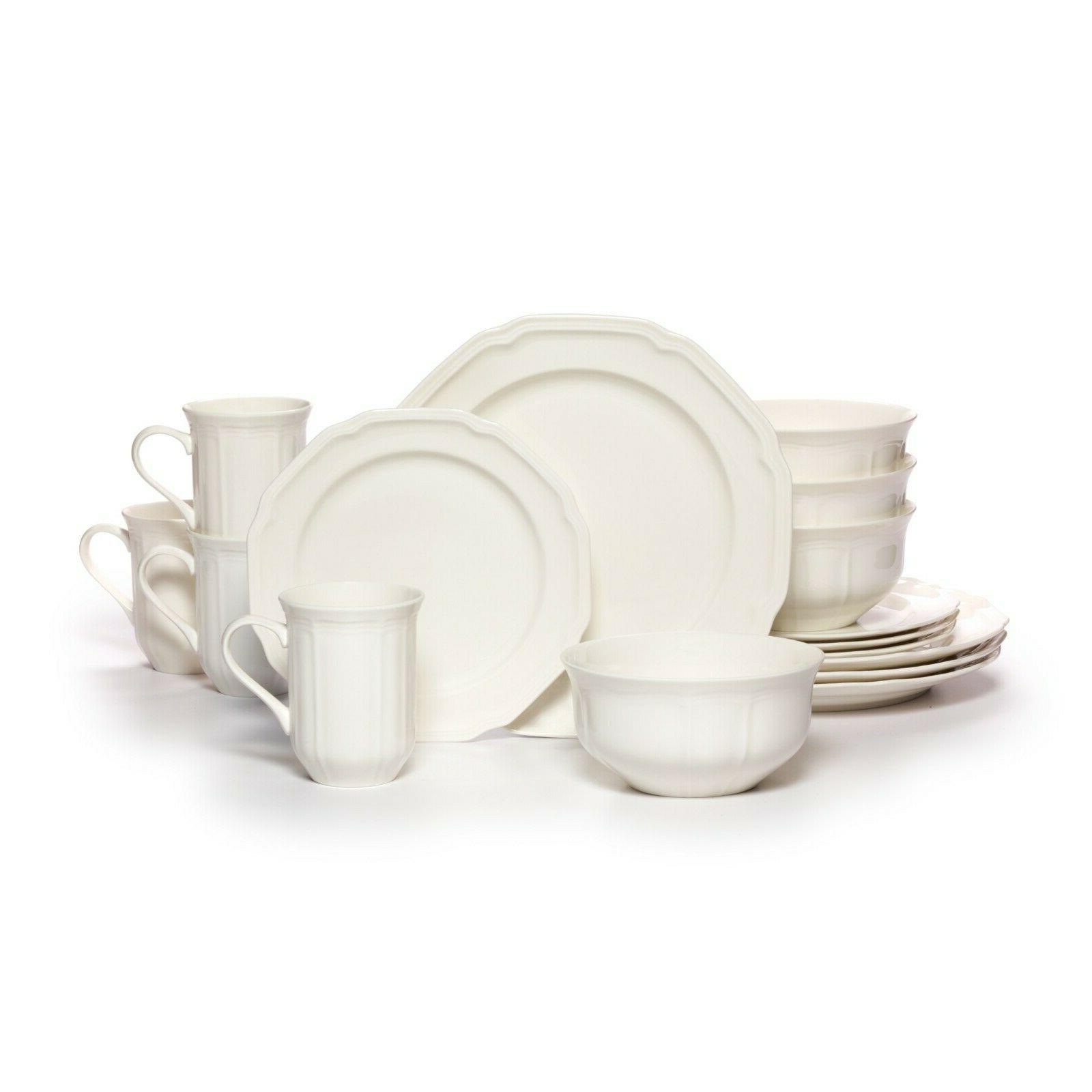 antique white 16 piece dinnerware set