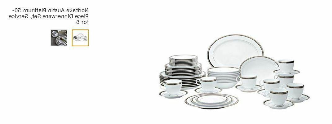 austin platinum 50 piece dinnerware set service