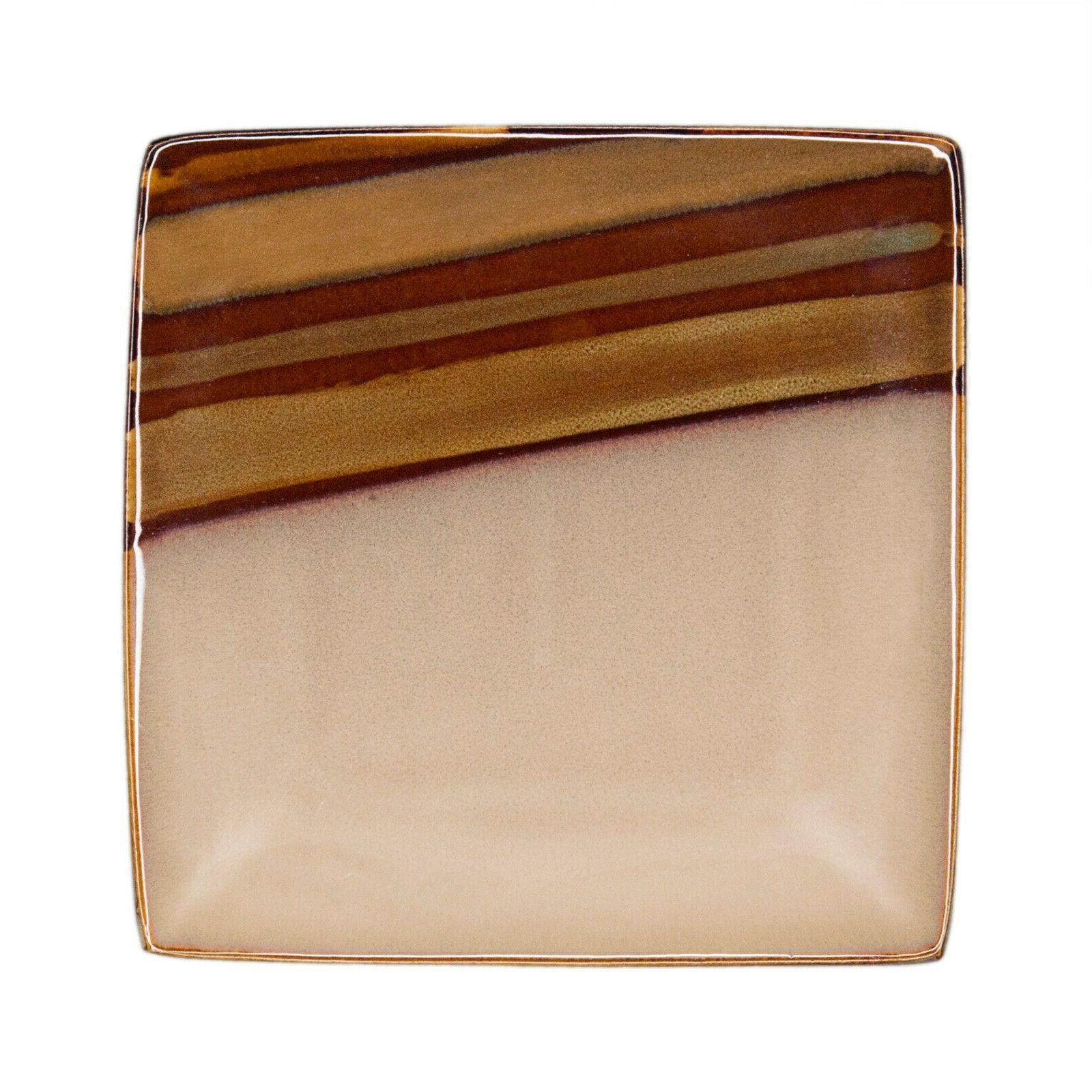 Sango Brown Piece Reactive Glaze Dinnerware Set