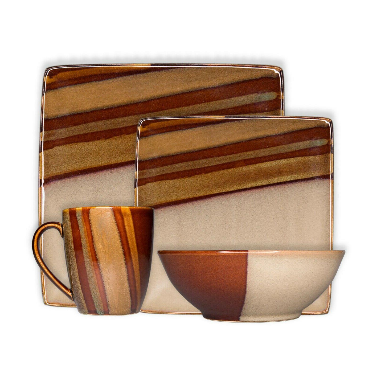 avanti brown 16 piece reactive glaze stoneware