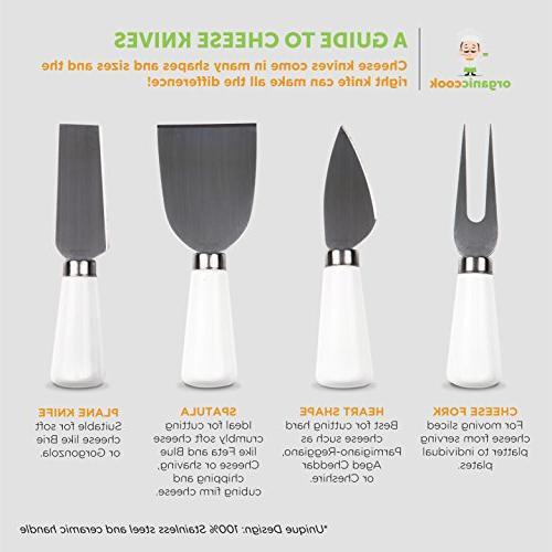 """Bamboo Cutlery includes Cheese with Ceramic Handles, BONUS plus Ceramic Size 14"""" 11"""", Unique Design Cook"""