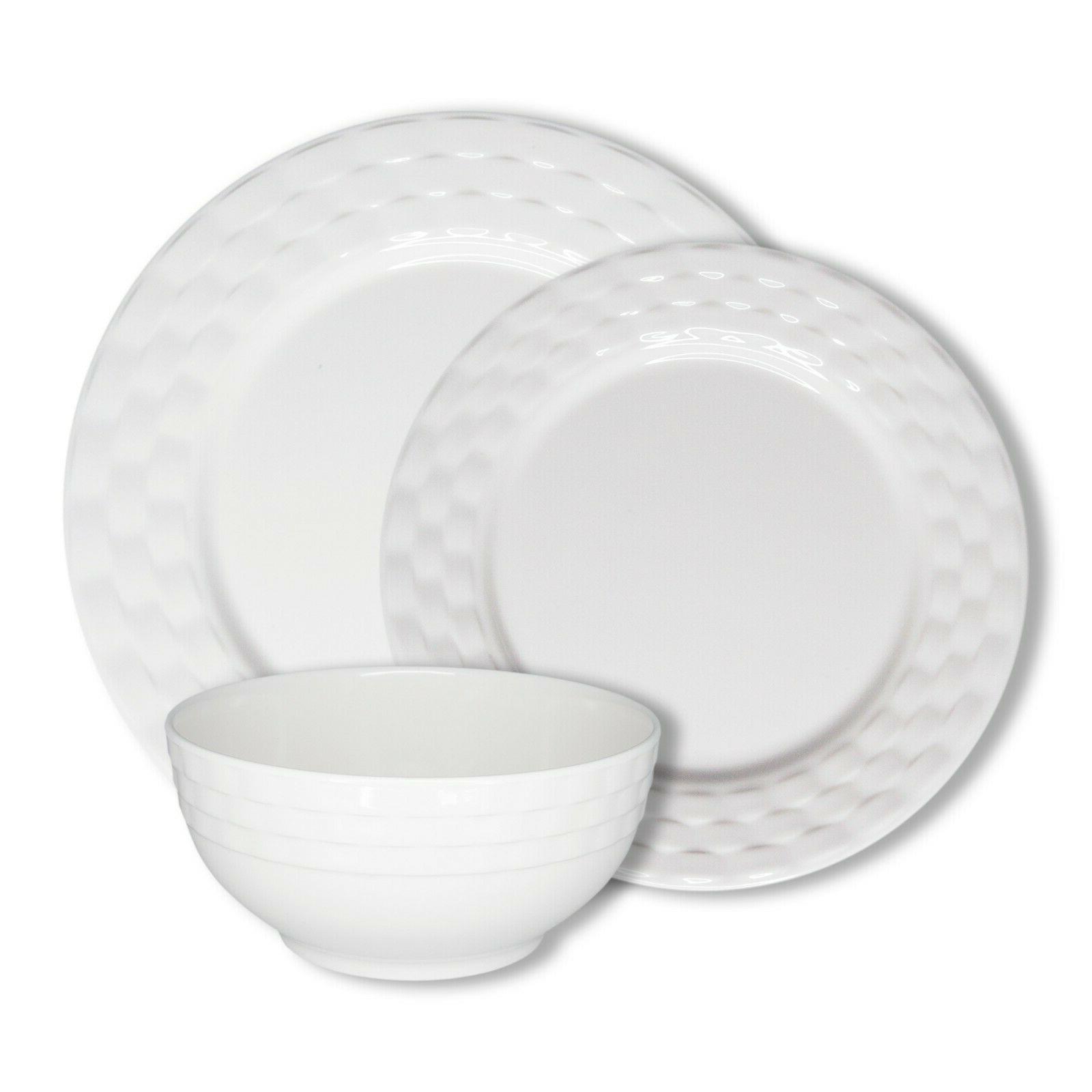 basket weave white 12 piece melamine dinnerware