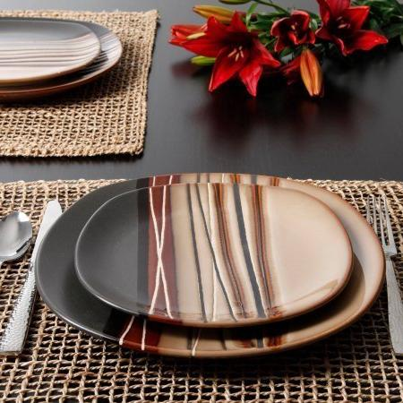 Better and Gardens Bazaar Brown 16-Piece Set,