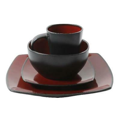 Beautiful Black And Red Set Square Bowls Mugs