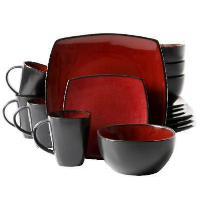 Beautiful Black Red Set Square Plates