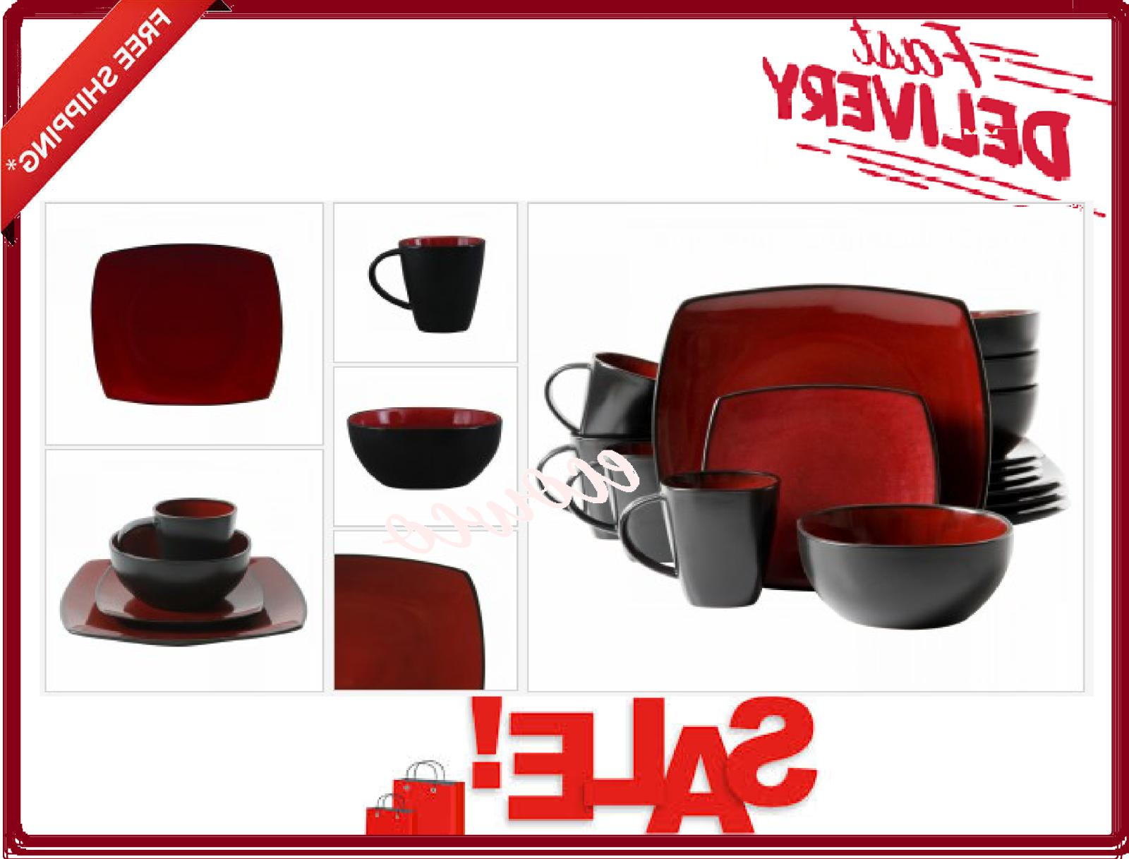 beautiful 16 piece black and red dinnerware