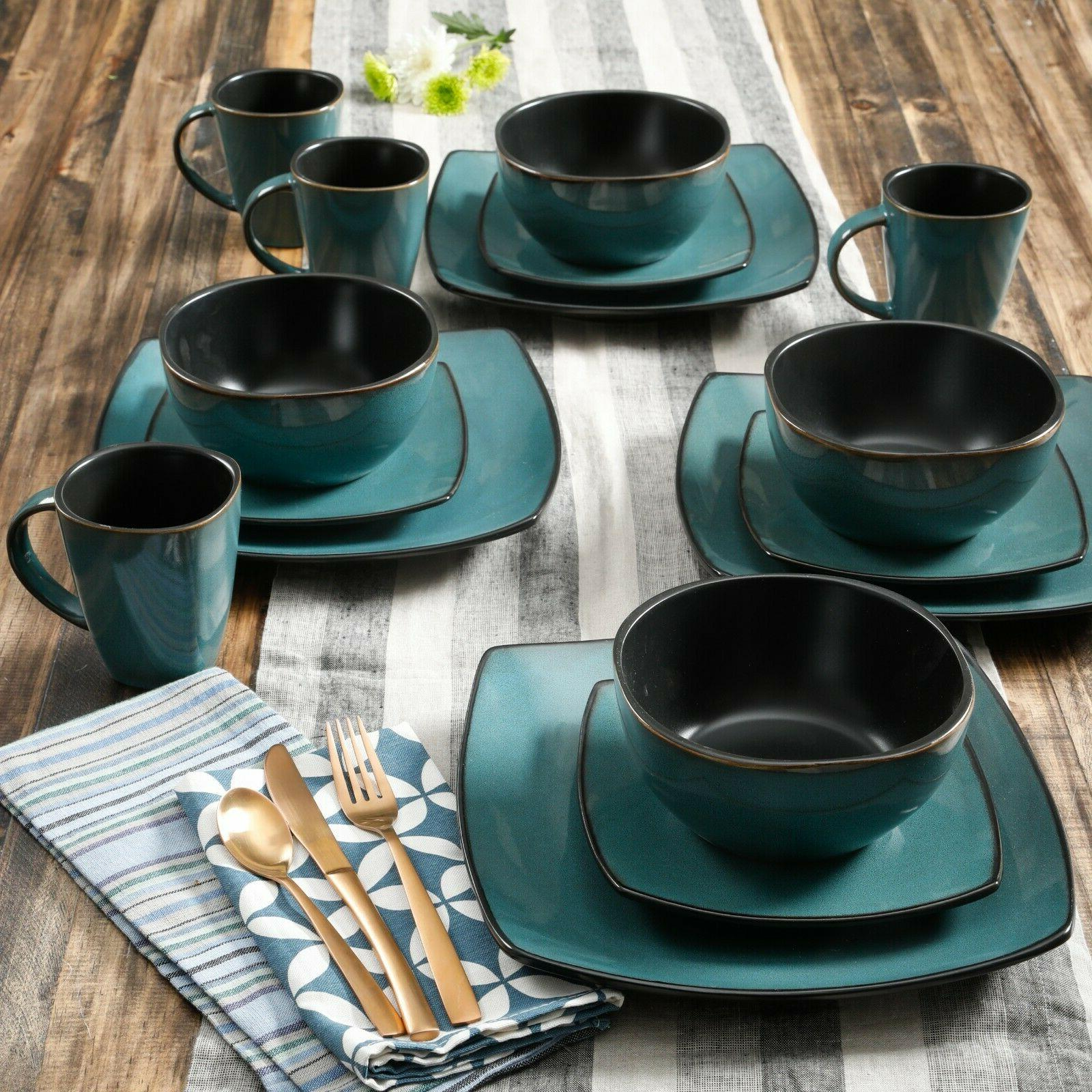 Beautiful 16-Piece Teal and Black Dinnerware Set Round Squar