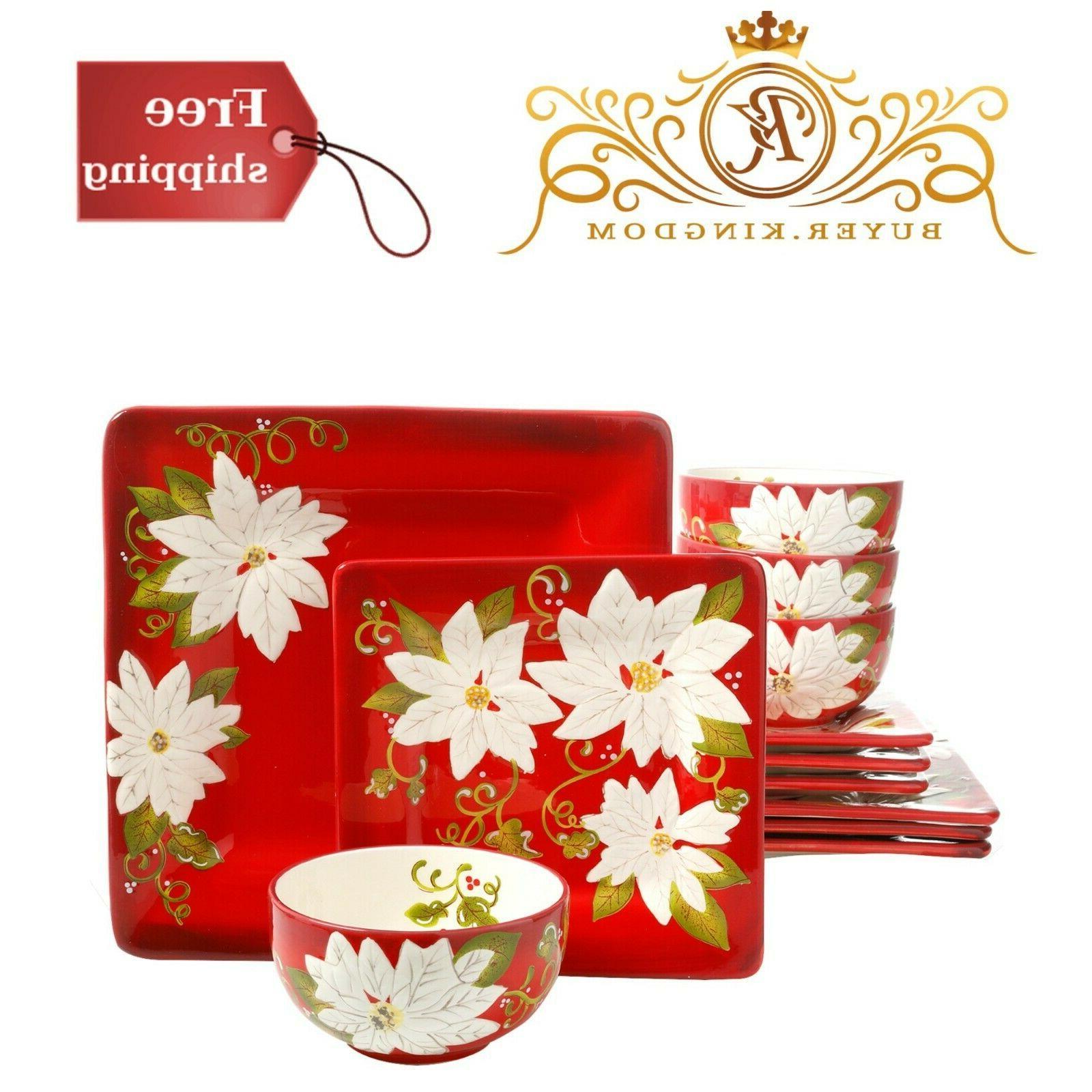 Beautiful Poinsettia Ceramic Dinnerware Set Of 12 Red For Ch