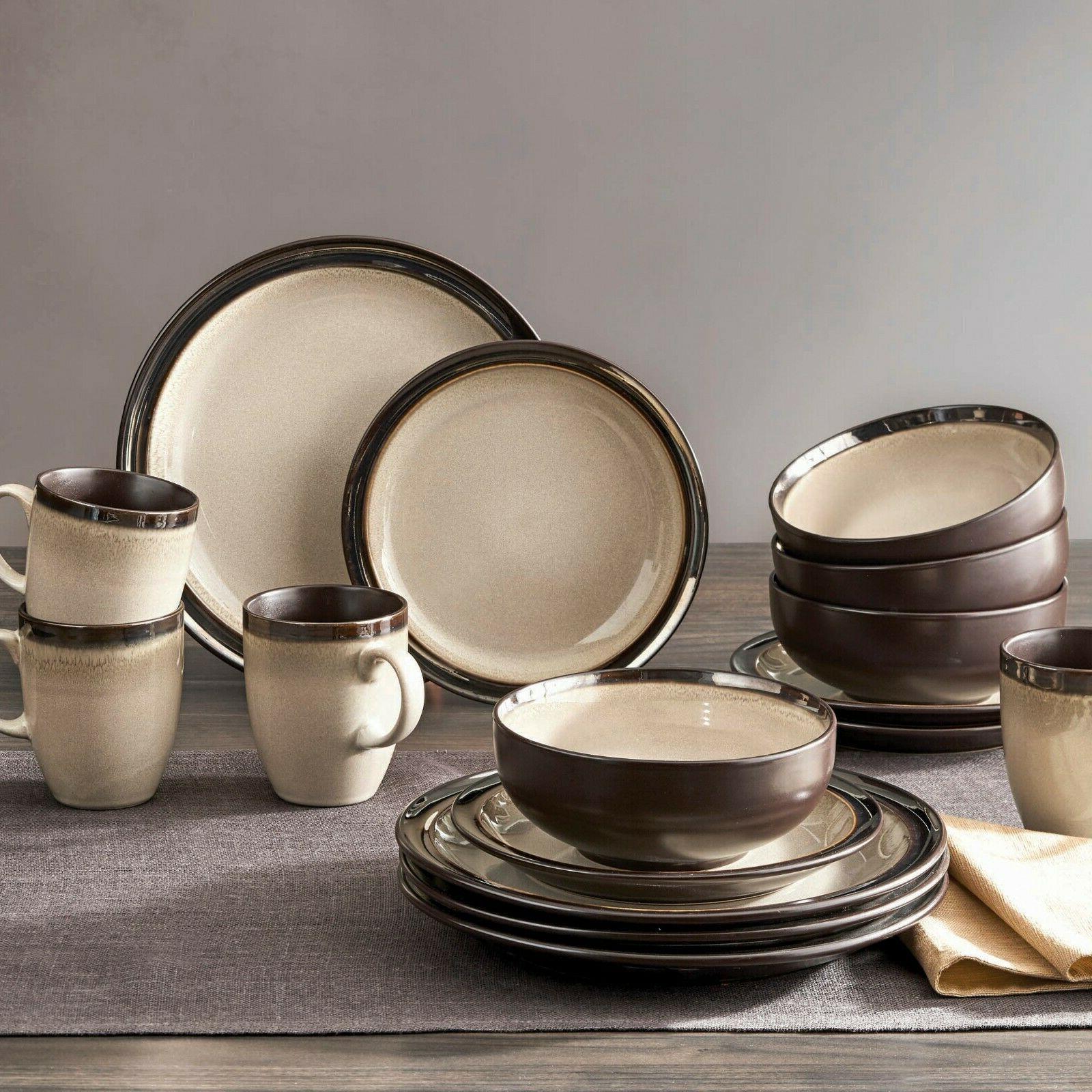 beige sierra kitchen stoneware dinnerware set 16