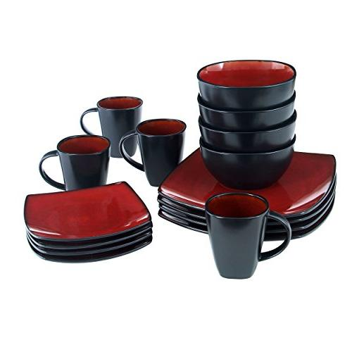 Gibson Elite Soho Square Glaze Set,
