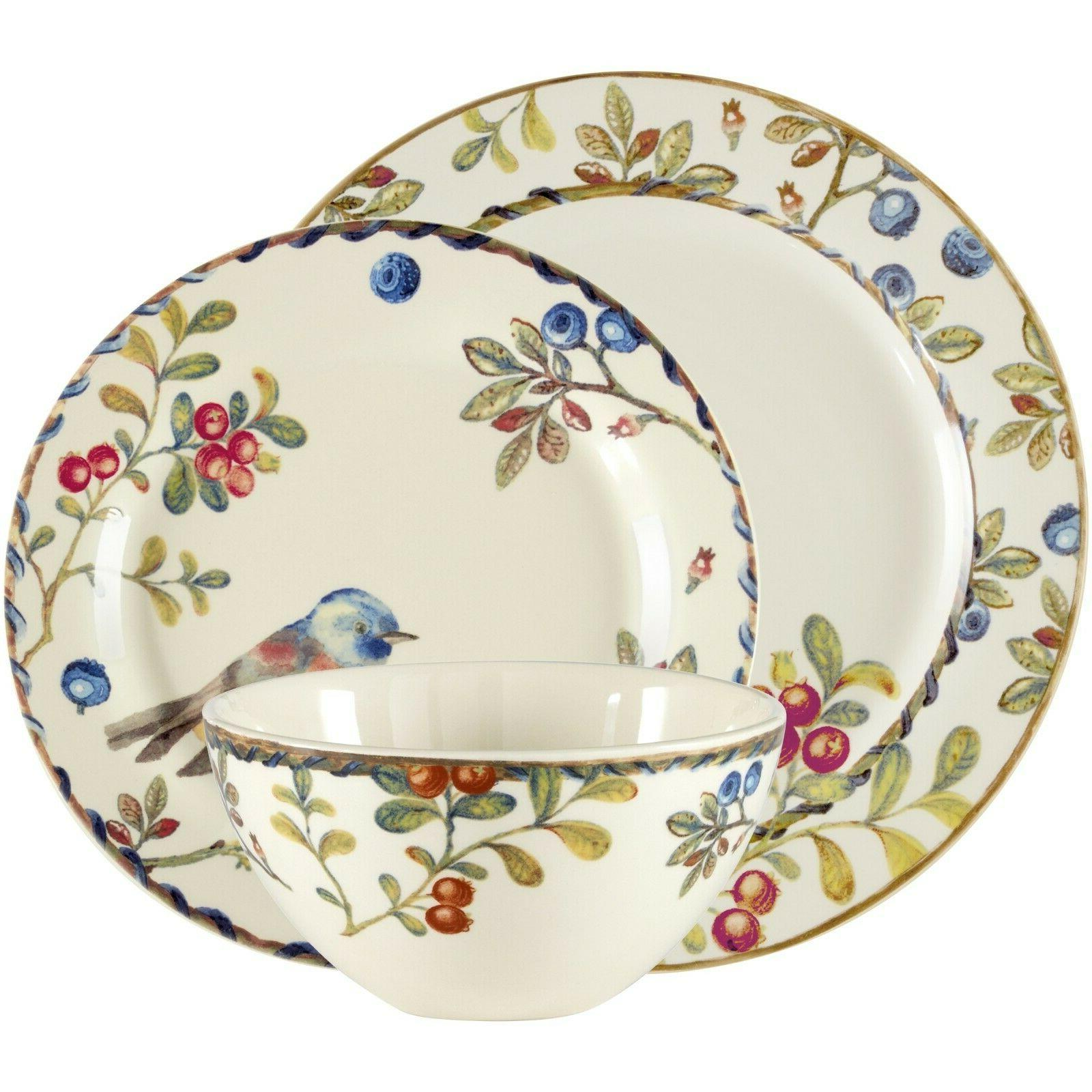Berries and Birds 12-piece Multicolored Stoneware Dinnerware Set