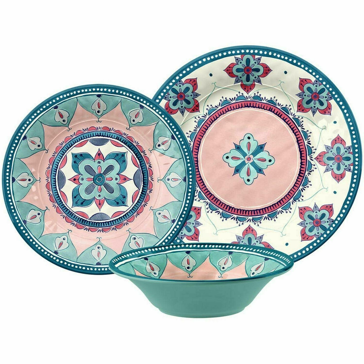 Cool Better Homes And Gardens 12 Piece Boho Dinnerware Set Download Free Architecture Designs Lukepmadebymaigaardcom
