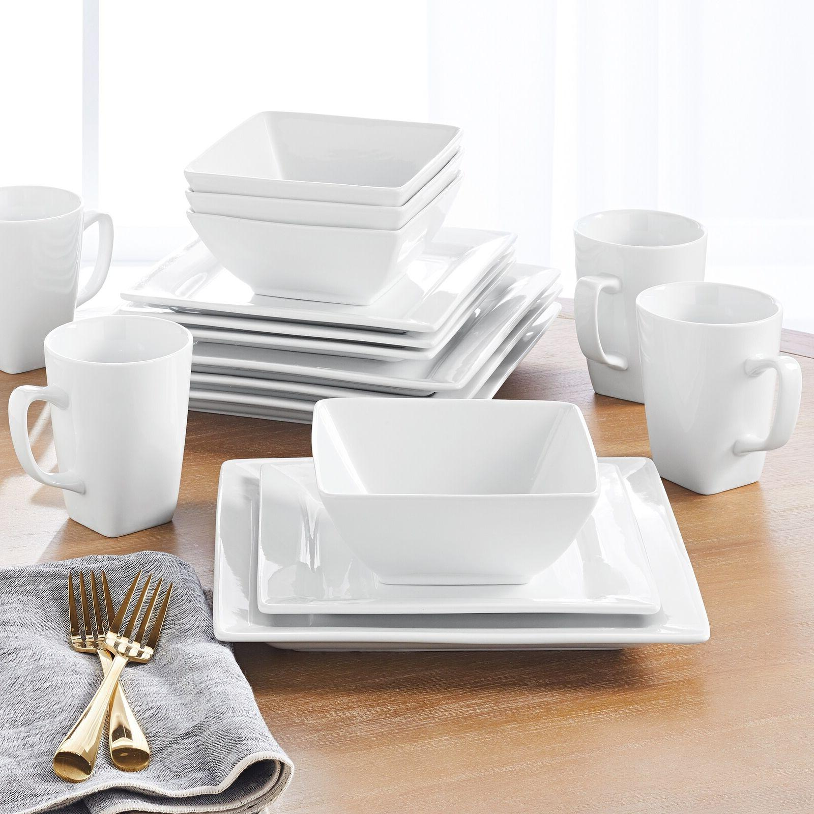 Better Homes & Gardens 16 Pc Square Dinnerware Set, Plates B