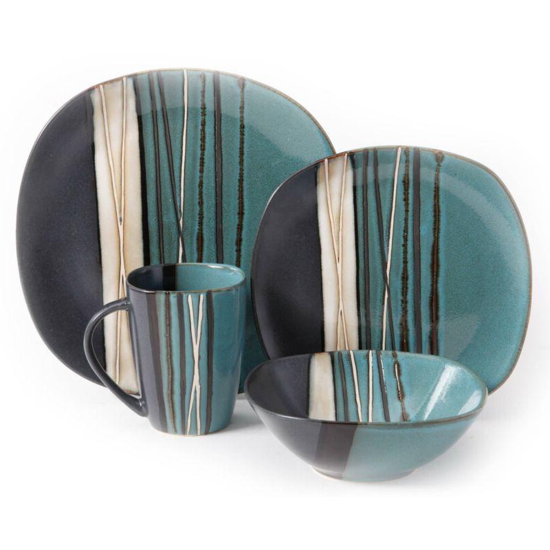 16-Piece Dinnerware Set Square Dinner Plates/Bowls/Mug Stone