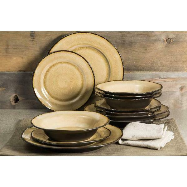 Better Homes Gardens Dinnerware, Dijon Gold Glaze, of 12