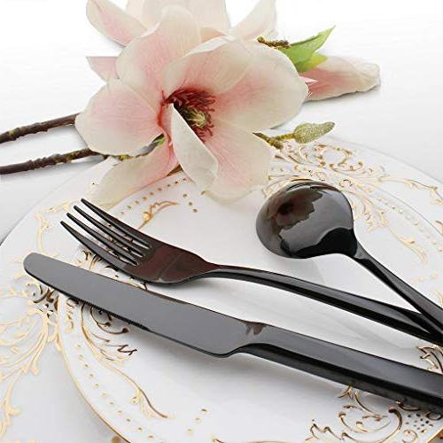 Onlycooker 20-Piece Flatware Stainless Steel Eating for Tableware Fork Knife for Kitchen Table Mirror