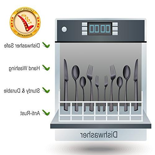 Onlycooker Black Silverware 20-Piece 18/10 Steel Eating Service Fork Spoon Kitchen Table Mirror Dishwasher