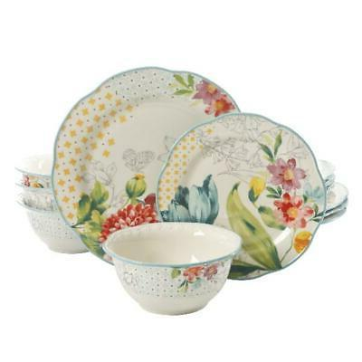 blooming bouquet 12 piece dinnerware set