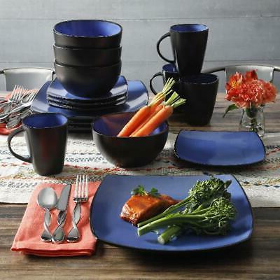 Blue Set Dinner Bowls Home Kitchen 16 Pcs